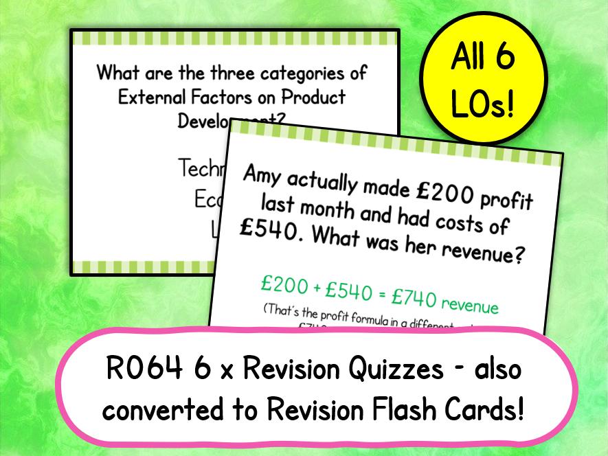 R064 Revision Quizzes and Flash Cards Bundle!