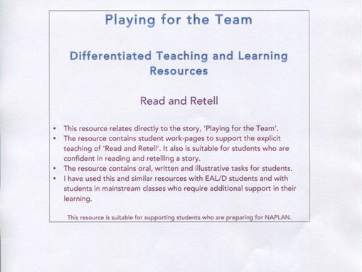 Playing for the Team : Read and Retell