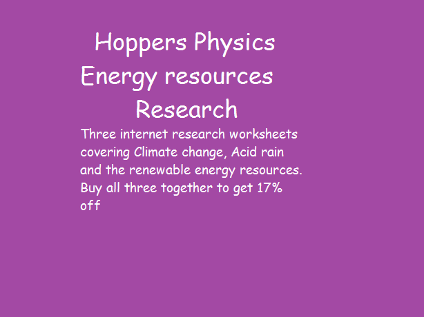 Energy resources internet research tasks