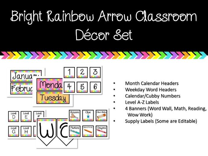 Bright Rainbow Arrows Classroom Set