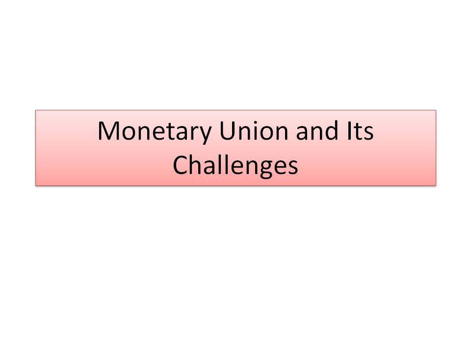 Monetary Union and its challenges