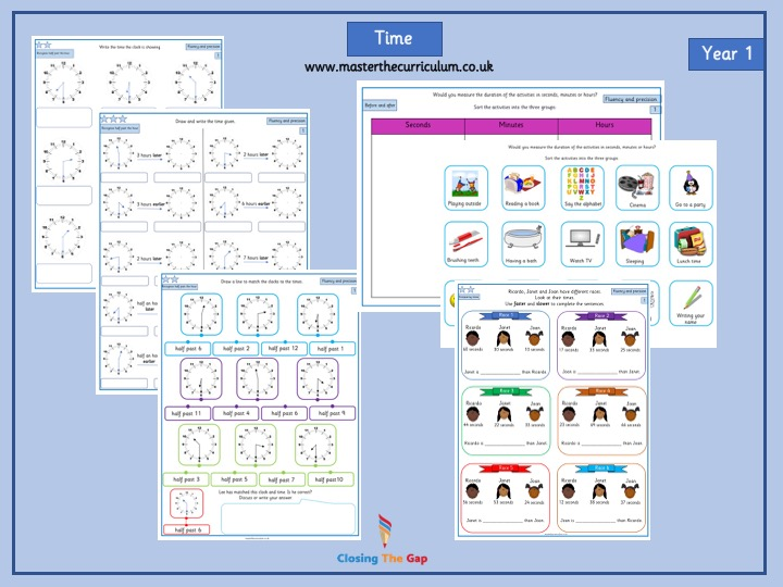 Year 1 Time Differentiated Worksheets - Week 1 and Week 2 White Rose Style
