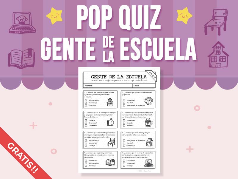 Pop Quiz - Gente de la Escuela FREEBIE - (SPANISH VERSION)