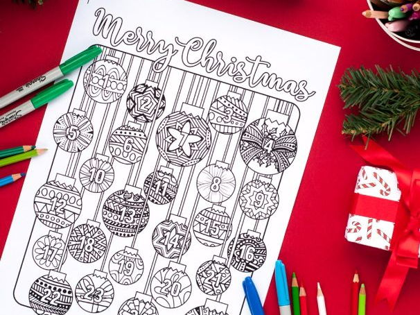 Christmas Coloring Advent Calendar - Printable 8.5x11 PDF Download - Xmas coloring page countdown