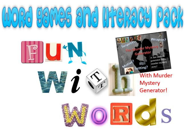 Word Games and Literacy Pack with a Murder Mystery Generator