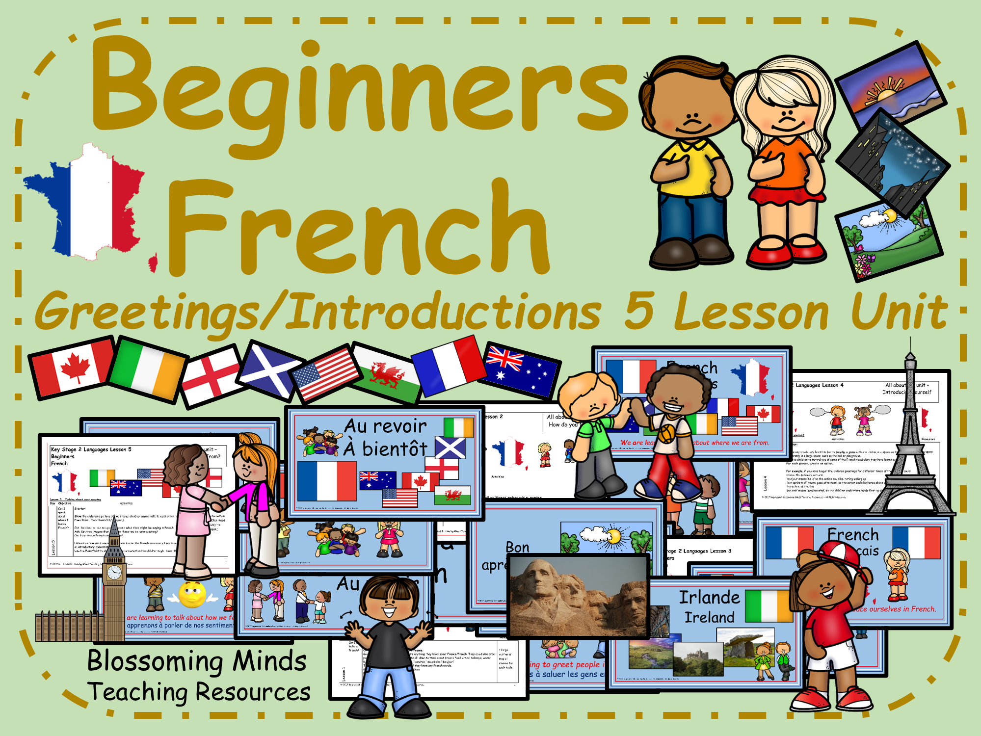 Beginners French - Greetings and introductions lesson bundle
