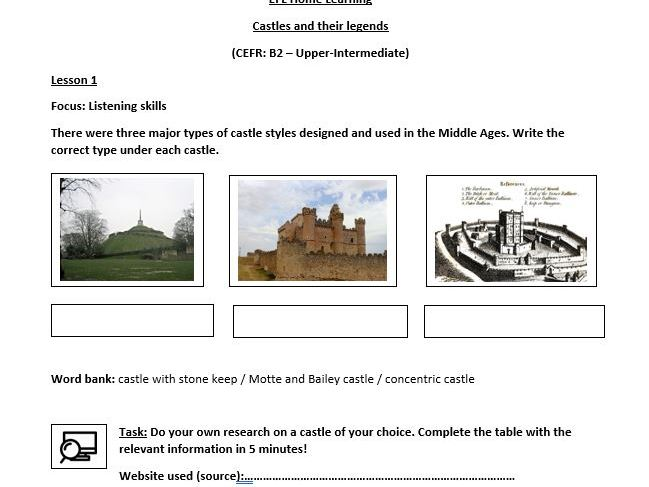Castles and their legends - Study material for EFL students