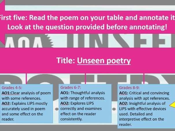 AQA Unseen Poetry focused on homelessness - high ability