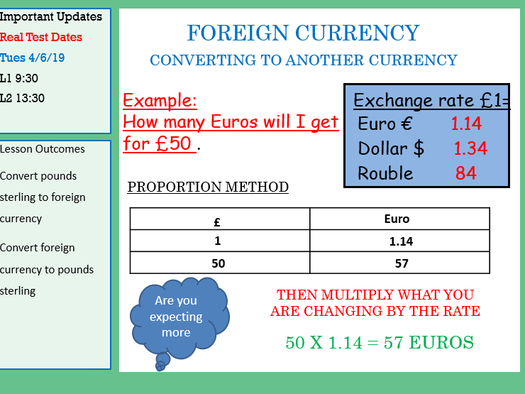 GCSE Maths/Functional Skills-Currency Conversion Lesson Pack