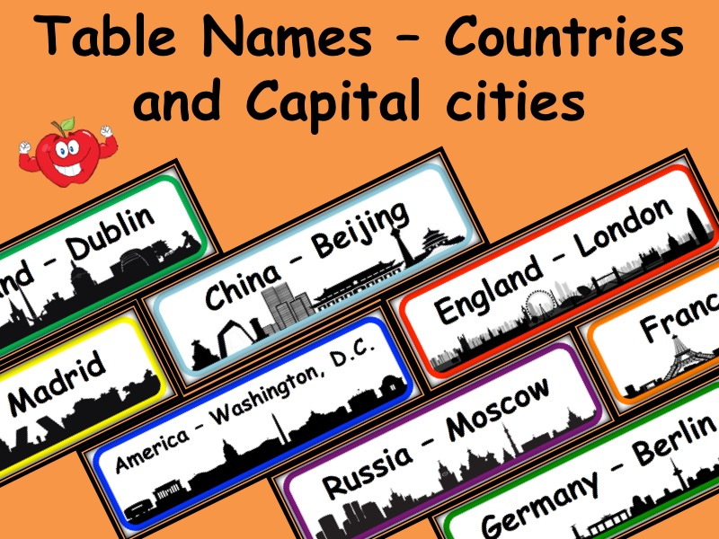 Capital and countries table names 8 table names with different outside colours