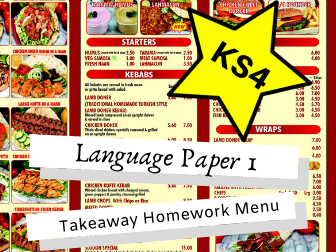 AQA English Language Paper 1 AQA KS4 Takeaway Homework Menu