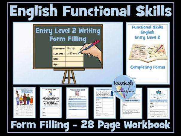 Functional Skills English - Entry Level 2  Writing - Form Filling