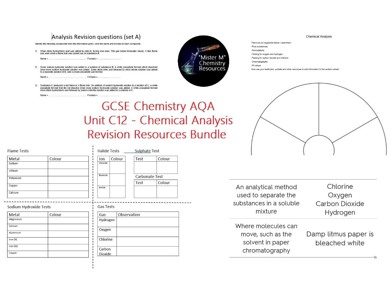 AQA GCSE - C12 - Chemical Analysis - Revision Resources