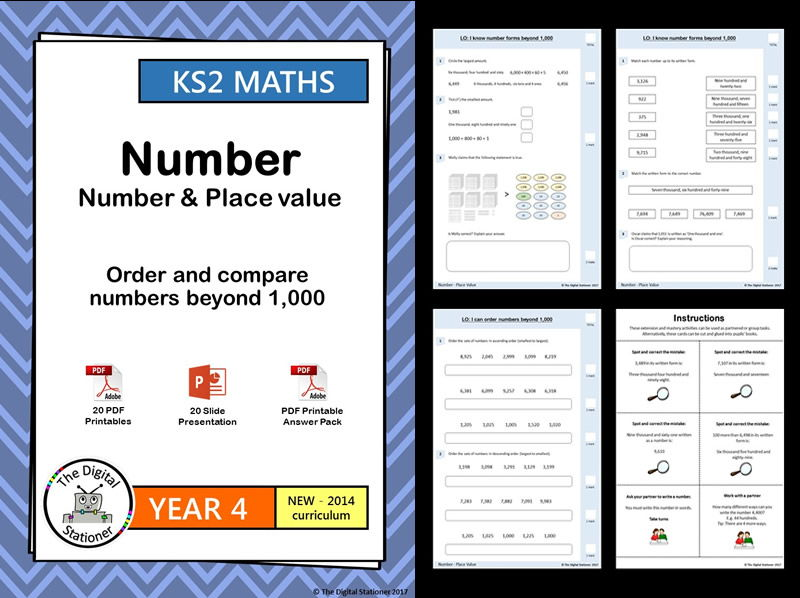 Year 4 – Order and compare numbers beyond 1,000  - Place Value week 1-4 - White Rose (MASTERY)