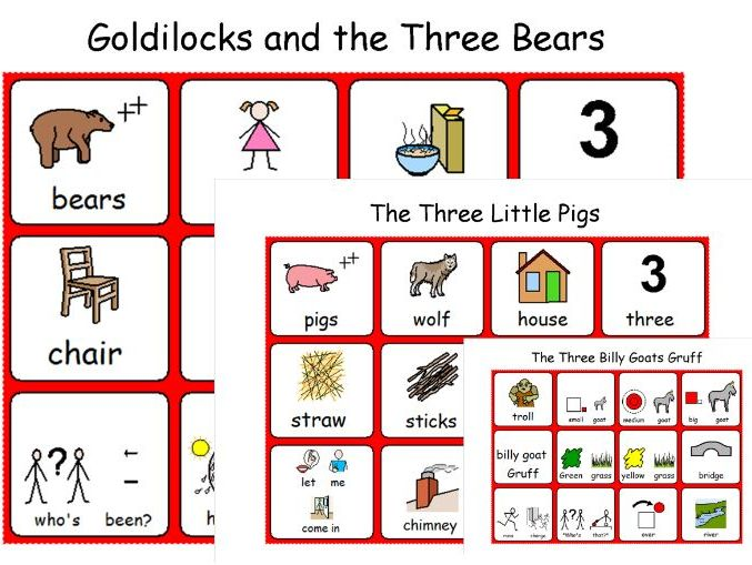Traditional Fairy Tales - Three Little Pigs - Goldilocks - Billy Goats Gruff - Symbol Sheets - SEN