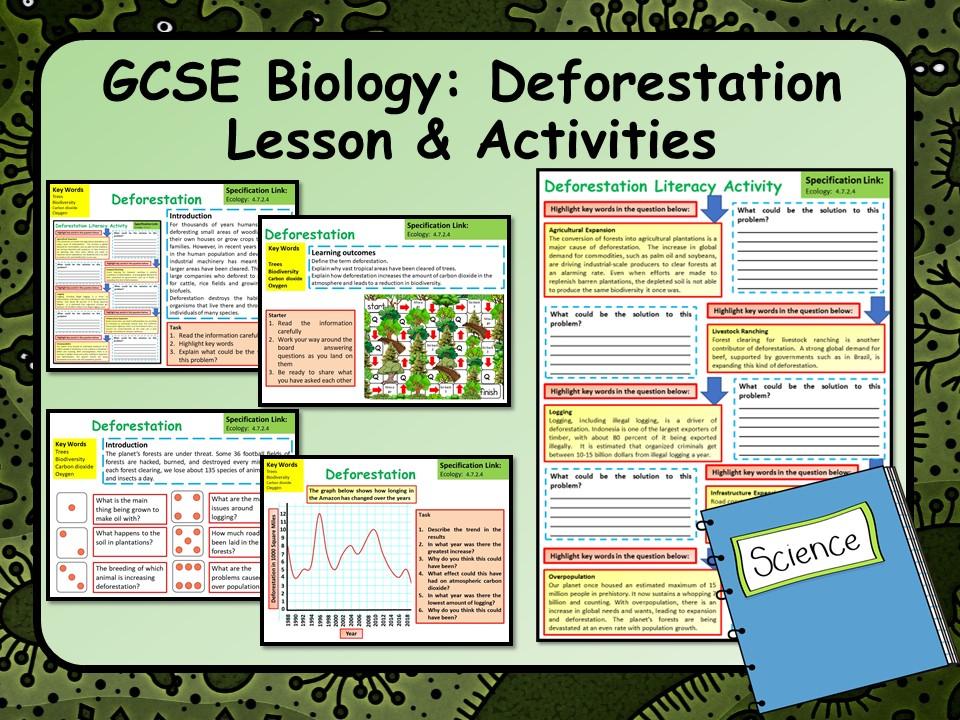 KS4 AQA GCSE Biology (Science) Deforestation Lesson & Activities