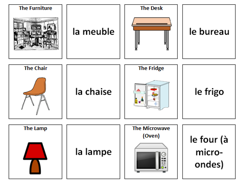 Furniture french vocabulary card sort by ineedtoteachthat for Furniture in french