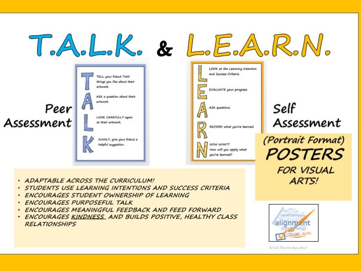T.A.L.K and L.E.A.R.N. Peer and Self Assessment Posters (Portrait Format)