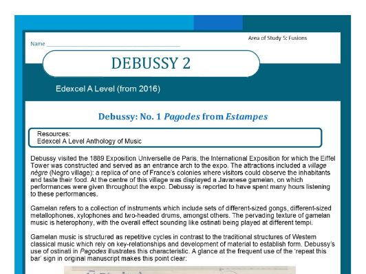 Edexcel Music A level (from 2016) Debussy worksheet 2