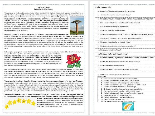 The Little Prince by Antoine de Saint- Exupery - Reading Comprehension/ Vocabulary Worksheet