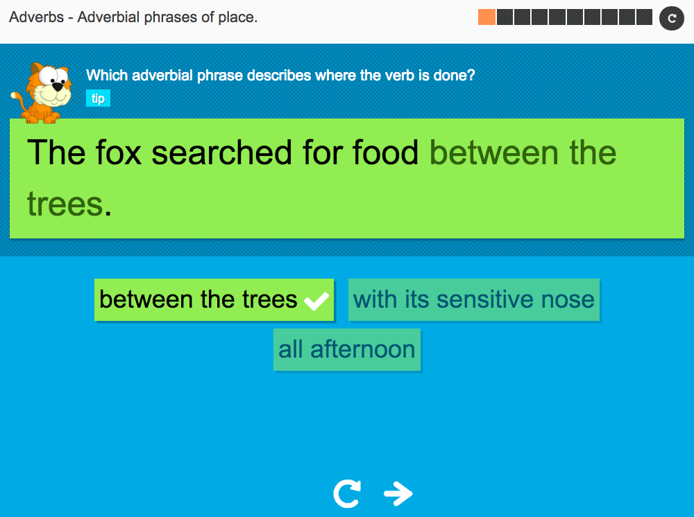 Adverbial phrases of place - Interactive Activity - KS3 Spag
