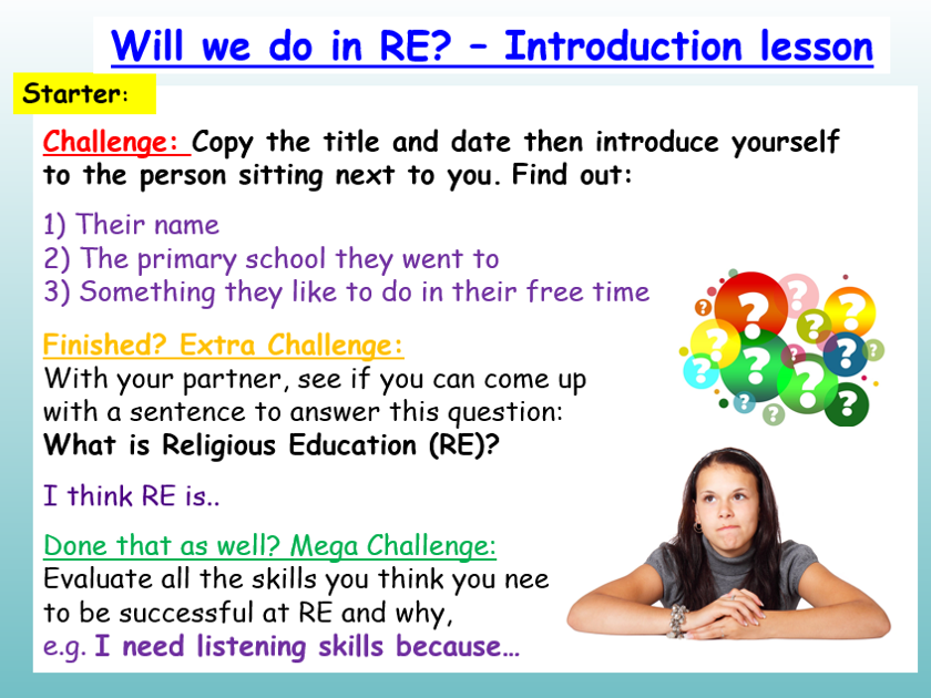 RE Introduction lesson