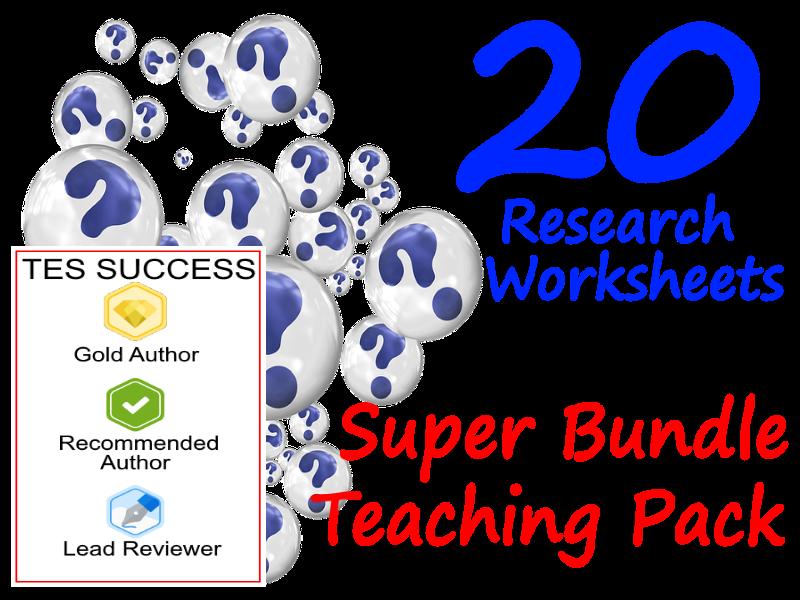 20 different research worksheet bundles