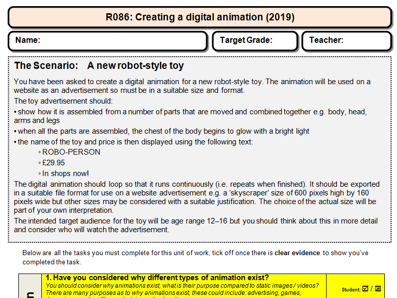 R086 - Animation - OCR iMedia - Student Friendly Checklist