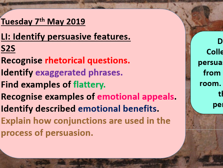 Year 5 Persuasive Letter Writing_Identification of Features Lesson_Pharaoh