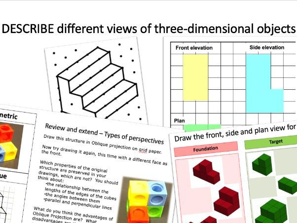 Describe different views of three-dimensional objects