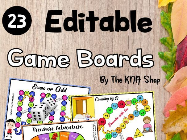 23 Editable Game Boards Activities