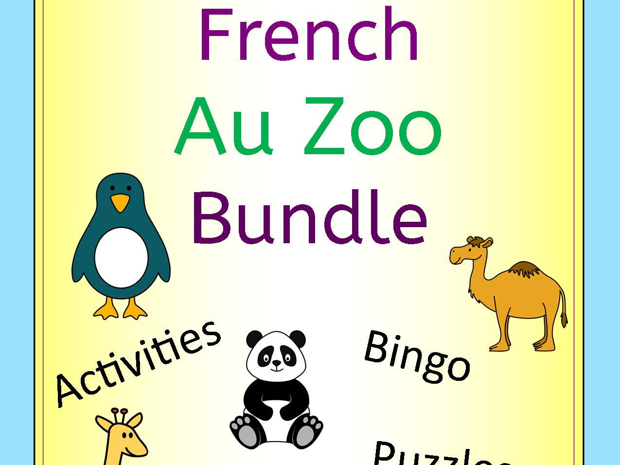 French Au Zoo Bundle - Activities Puzzles Word Wall Bingo