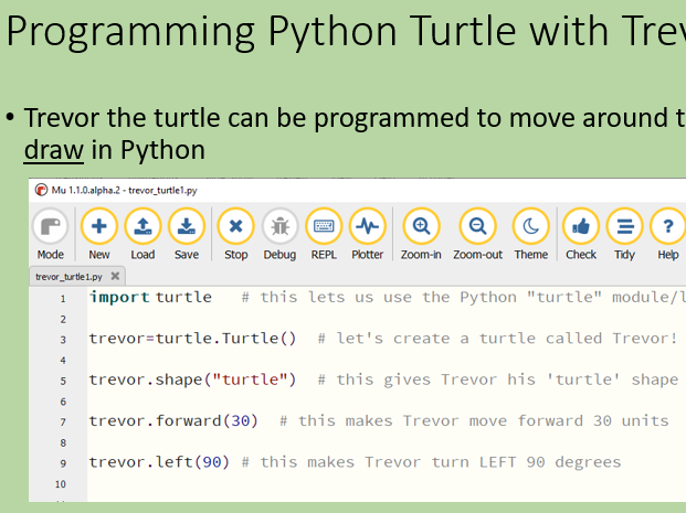 Python programming - turtle graphics - 4 lessons