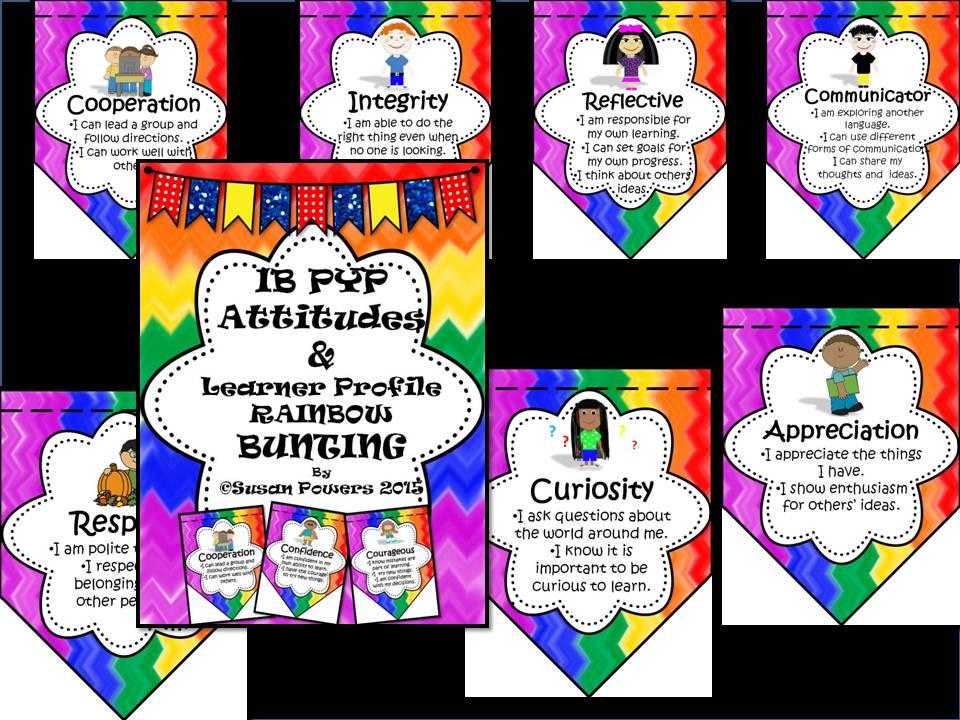 IB PYP Rainbow Learner Profile and Attitudes Bunting Display