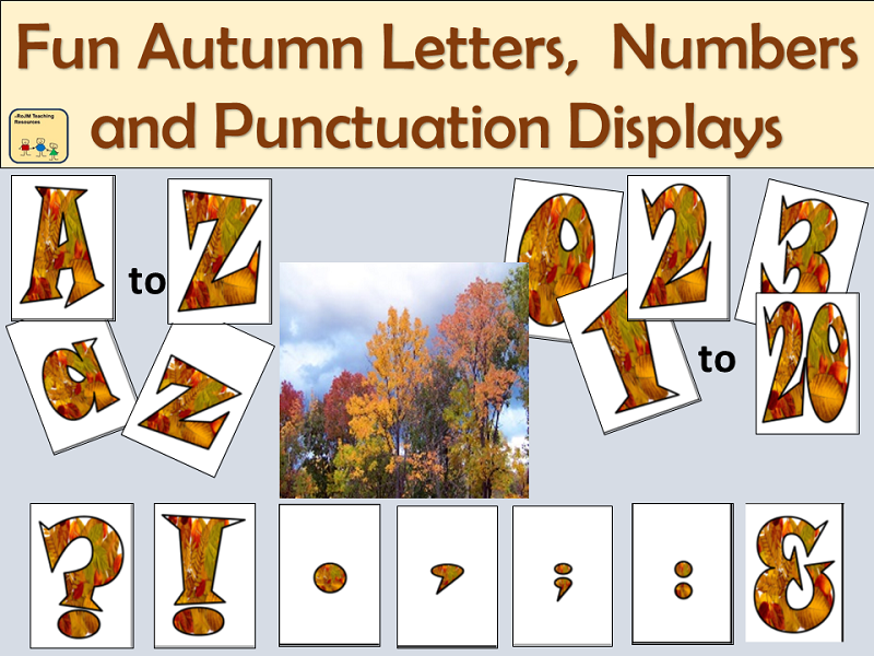 Fun Alphabet Letterings, Numbers and Punctuation Symbols: Autumn Season