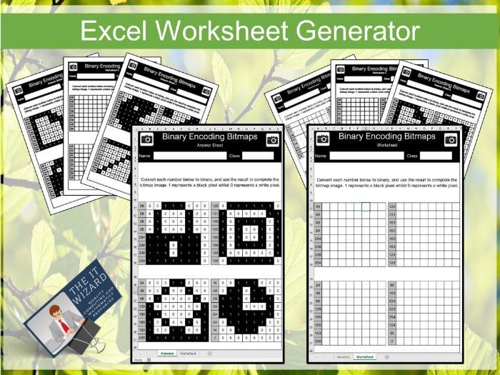 Binary Conversion and Bitmap Encoding Worksheet Generator