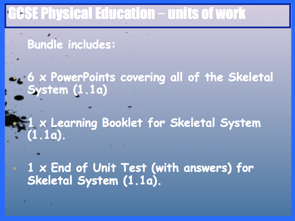 GCSE OCR PE Skeletal System (1.1a) Unit of Work