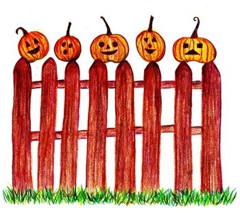 Five Little Pumpkins ~ Original Colored Pencil Drawing Clip Art