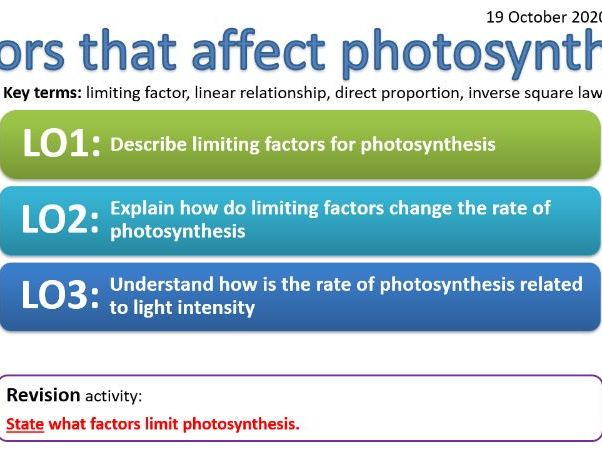 CB6b - Factors that affect photosynthesis - limiting factor, linear relationship, direct proportion