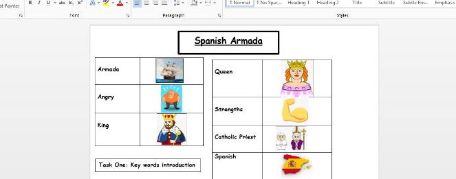Spanish Armada  EAL worksheet