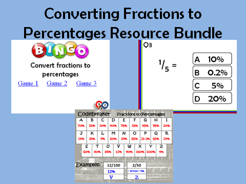 Fractions to Percentages: 3 resources