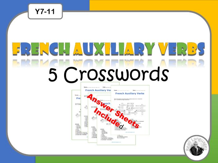 French Auxiliary Verbs Crosswords:  Avoir and Être Present Tense