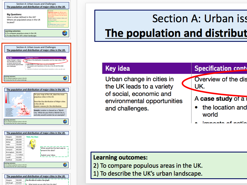 Population and distribution of major cities in the UK (AQA 9-1)