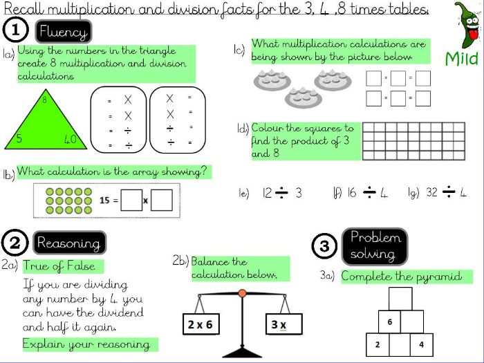 Multiplication and Division -recall multiplication and division facts for the 3,4 and 8 times tables