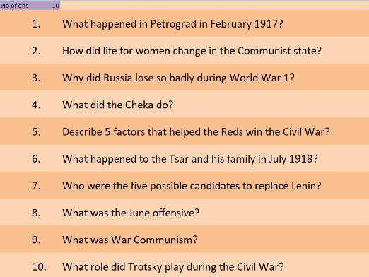GCSE History starter spreadsheet, interleaving, revision, exam preparation