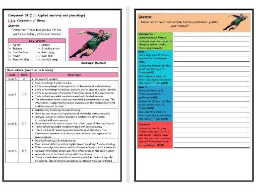 GCSE PE - OCR (9-1) - Structure Strip - Fitness Testing 3 - Extended Question Worksheet