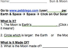 Sun & Moon PebbleGo Webquest