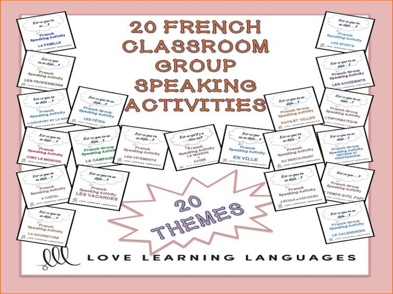 20 French Group Speaking Activities BUNDLE: Est-ce que tu as déjà?