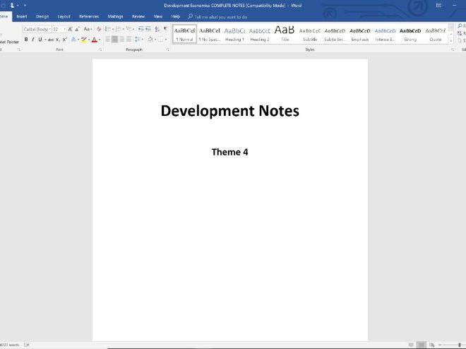 20. Development Economics COMPLETE SET OF NOTES