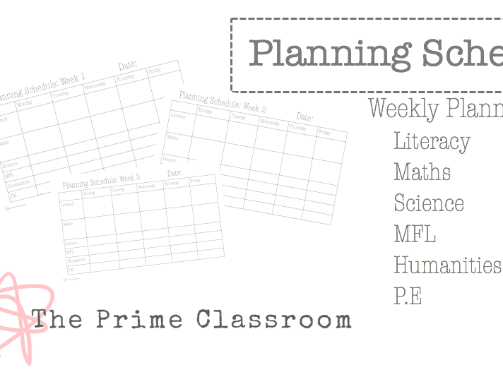 Weekly Planner by Subject - Classroom Organisation and Planning
